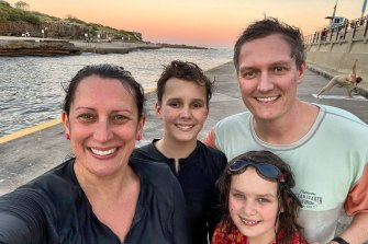 The Blake family (from left), Gwen, Samson, Onnie and Stephen, at Clovelly. Regular swimmers have taken up new sports in lockdown.