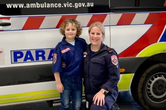 Intensive care paramedic Sasha Clements and her son Charlie, aged seven.
