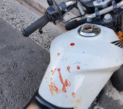 The aftermath of an alleged assault on a Menulog rider last month.