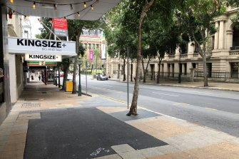 George Street in Brisbane's CBD was almost deserted during morning rush hour on August 10, two days after a lockdown lifted for south-east Queensland.