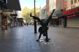 Perth CBD deserted in March when tough social distancing rules came into effect at the start of the pandemic.