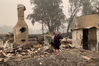 Rodney Shaw outside his childhood home in Tumbarumba.