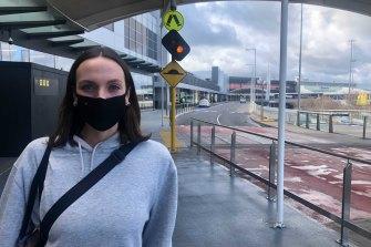Carlton fashion buyer Maddie McPhee at Melbourne Airport.