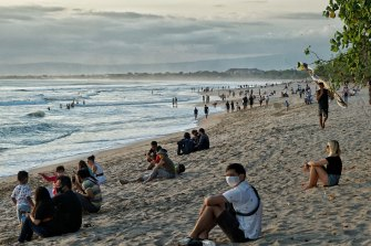 Kuta beach after its re-opening.