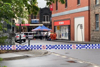 A second crime scene was set up on the corner of Garden and Bray streets after a shooting in Prahran.
