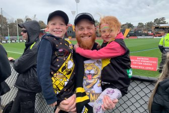 Nick Ryan was at Punt Road for the Richmond training session with Devin and Zara.