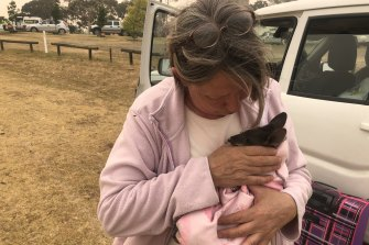 Verlyn Button with the rescued Joey.