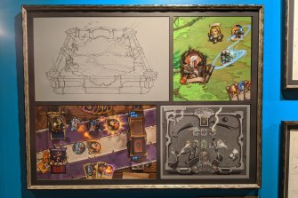The walls of Blizzard's headquarters in California are adorned with early Hearthstone design documents.