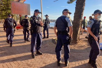 NSW Police on patrol at Manly Beach.