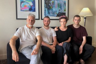 Margaret Crowe with husband Maurizio Cigognetti and sons Thomas Cigognetti and Elliott Cigognetti, who face another two weeks in quarantine.