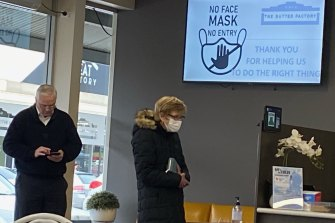 Nationals MP Damian Drum in Shepparton at his local coffee shop The Butter Factory on Friday morning, without the mandatory mask.