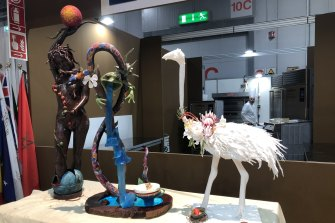 """Barrett's sugar sculpture: """"Now that I'm not using sugar at all, it is weird to think that I made a two-metre-tall edible emu from it,"""" she says."""
