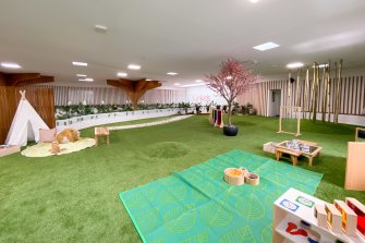 The zen garden at Sunkids Brisbane Technology Park includes aJapanese cherry blossom tree, bamboo forest, tepee space and garden area.