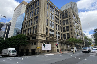 How Brisbane's Christie Centre appears today in 2021, showing the stepped-in section on Wharf Street.
