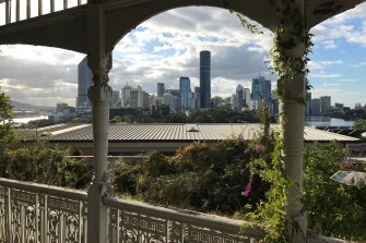 The view from the front verandah of Lamb House at Kangaroo Point, on the cliffs opposite the city.
