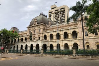 The parliamentary annexe building, pictured behind Queensland Parliament in George Street, Brisbane.