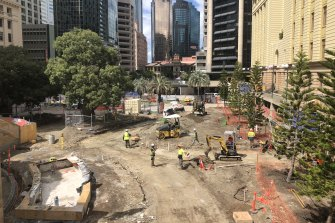 Restoration work at Anzac Square in September 2018.