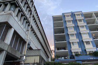 Residents of the five-storey Avalon Parkside apartments (right) question whether two 15-storey complexes – proposed to replace the building on the left – will crowd them out.