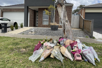 Flowers left outside Celeste Manno's home in Mernda where she was killed in the early hours of Monday morning.