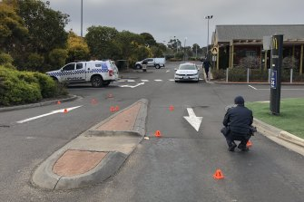 Investigating police at the scene of the shooting in Sunbury in August 2019.