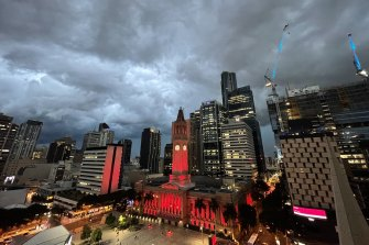 Storm clouds bearing down on Brisbane's CBD on Tuesday night.