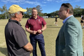 Queensland Cricket chief executive Terry Svenson (centre) with lord mayor Adrian Schrinner (right) and Wests cricket club president Peter Frew at Sunday's announcement.