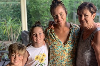 Reunions ahead: Nicole Sliwa's children, Harry and Ava; sister Alison; and mother, Karen Pope, in Brisbane last December.