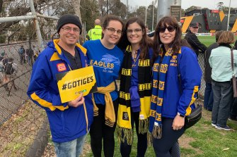 The Moore family have flown in from WA, even though their team isn't in it.