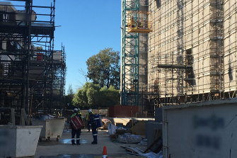 A 35-year-old man fell three metres from the scaffolding of a construction site opposite Penrith Panthers Leagues Club.