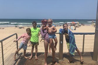 Harry and Ava (second and third from left) with their cousins Asher, Lex and Kobe on the Sunshine Coast last December.