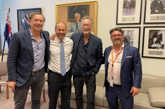 Save our screen: Producer/distributor Paul Wiegard (Madman), Treasurer Josh Frydenberg, actor Bryan Brown and Screen Producers Australia CEO Matthew Deaner.