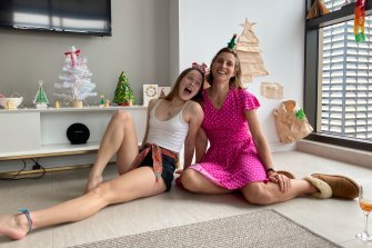 Christmas Day in hotel quarantine for Sandy Duffield, who is at the Meriton on Sussex Street in Sydney with her two teenage daughters. Pictured is daughter Luca, 16.