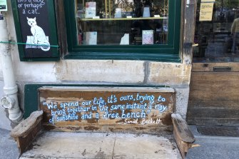 """Pull up a pew: the """"Beckett bench"""" outside Shakespeare and Company."""