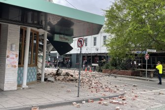 Betty's Burgers in Chapel Street partly collapsed in the earthquake.