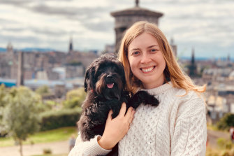 Ellen Tyrrell and her dog, Hilde, who is stuck in Doha due to COVID-19.