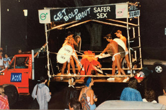 ACON's float at Mardi Gras in 1986 encouraged safe sex.