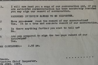 John Silvester confirms the contents of his interview with NSW Police, June 1983.