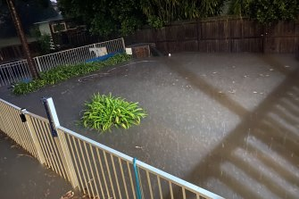 Alison Casey's backyard on O'Conner Street in Haberfield, which disappeared under water in the recent storms.