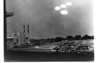 These spooky unidentified objects were photographed at 9:35am on July 15, 1952 over a parking lot in Salem, Massachusetts.