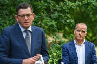 Premier Daniel Andrews and Mental Health Minister James Merlino making the funding announcement on Thursday.