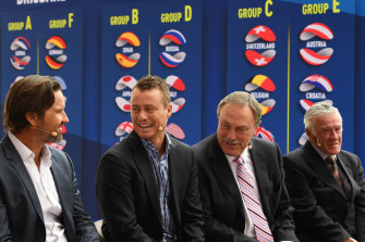 Pat Rafter (left), Lleyton Hewitt, John Newcombe and Ken Rosewall chat at the ATP Cup draw.