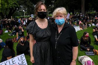 Heather Heldzingen, 72, of St Kilda, brought her granddaughter, Ella, 18, to the rally.