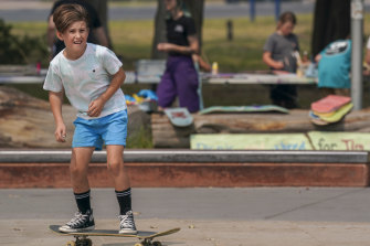 Nine-year-old Kobi on a roll at the Decks For Change event in  Rosebud.