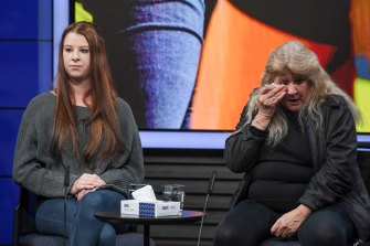 Brendon's sister Simone Hellyer and mother Valery Hellyer appeal for information on Thursday.