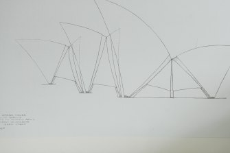An original Utzon line sketch of the Opera House that was given to the owner as a gift from her father. It was part inspiration for the house.