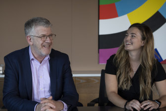 Emily Bedford and her employer Grant Saxon, managing partner at BDO.