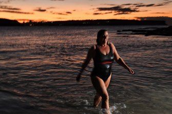 Jacqueline Tonin takes a dawn swim at Sydney's Balmoral Beach.