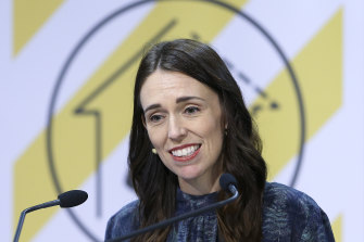 New Zealand Prime Minister Jacinda Ardern during a press conference in Wellington on Sunday.