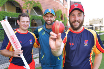 Nathan Lyon, centre, at the National Cricket Inclusion Championships on Wednesday.