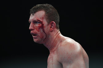 The fight was stopped for Horn to have a cut above his eye checked out.